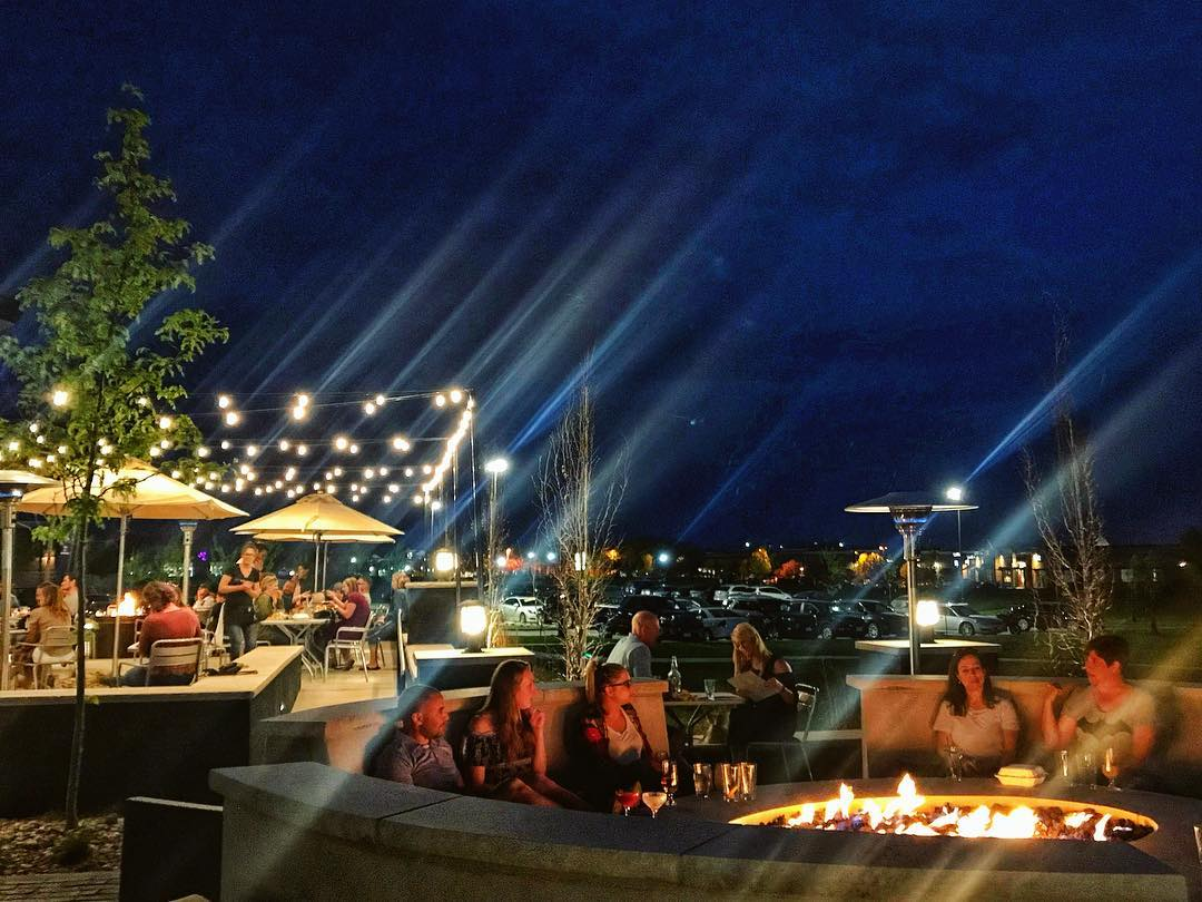 Socialize at night around the giant fire pit at Tin Roost